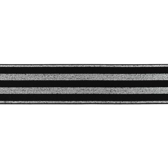Polyamid Gummi mit Lurex in Silber - 40 mm - Schwarz