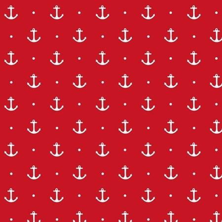 Baumwolljersey - Jersey Stoff - Motivjersey - Maritim - Anker auf Rot