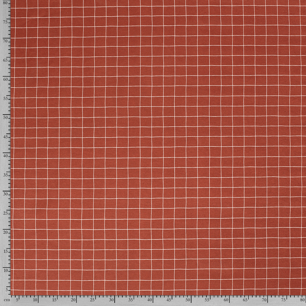 Canvas - Dekostoff - Leinenoptik - Karomuster auf Rost