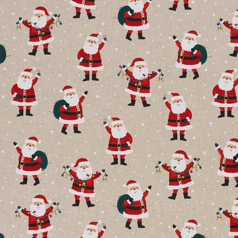 Canvas - Dekostoff - Leinenoptik - Swafing - Christian - Weihnachtsmann auf Beige Reststück 100cm x 140cm