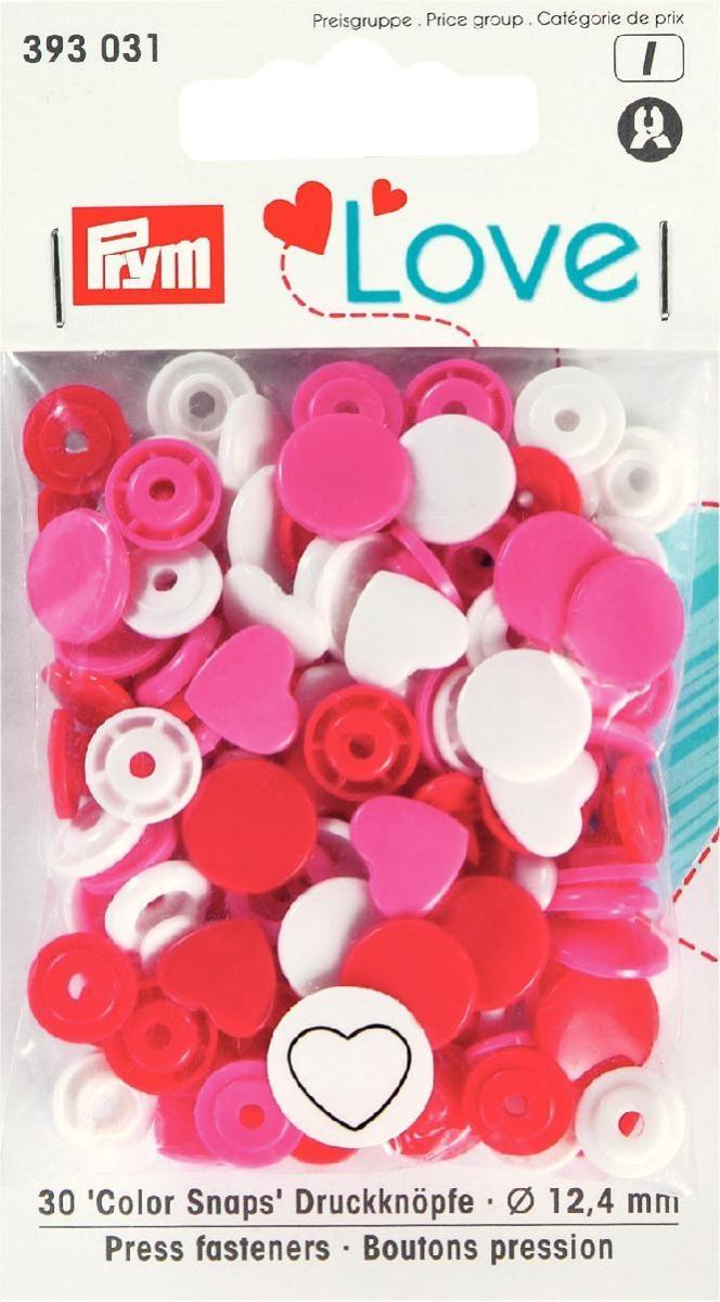 Druckknopf Color. Prym Love. Herz. 12.4mm. rot/weiß/pink  - 393031