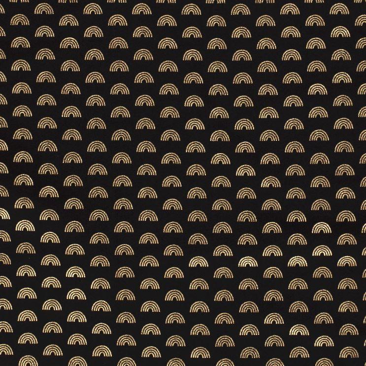 Baumwolljersey - Jersey Stoff - Regenbögen mit Foliendruck auf Schwarz