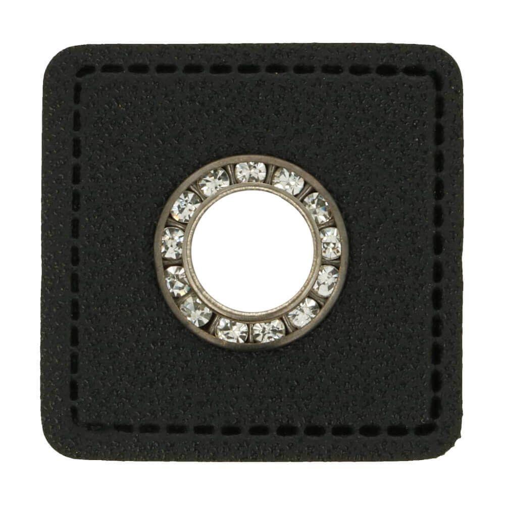 Kunstleder Ösen - Ösen Patches - Viereck Schwarz -8mm - Silber mit Strasssteine - 1 Stück
