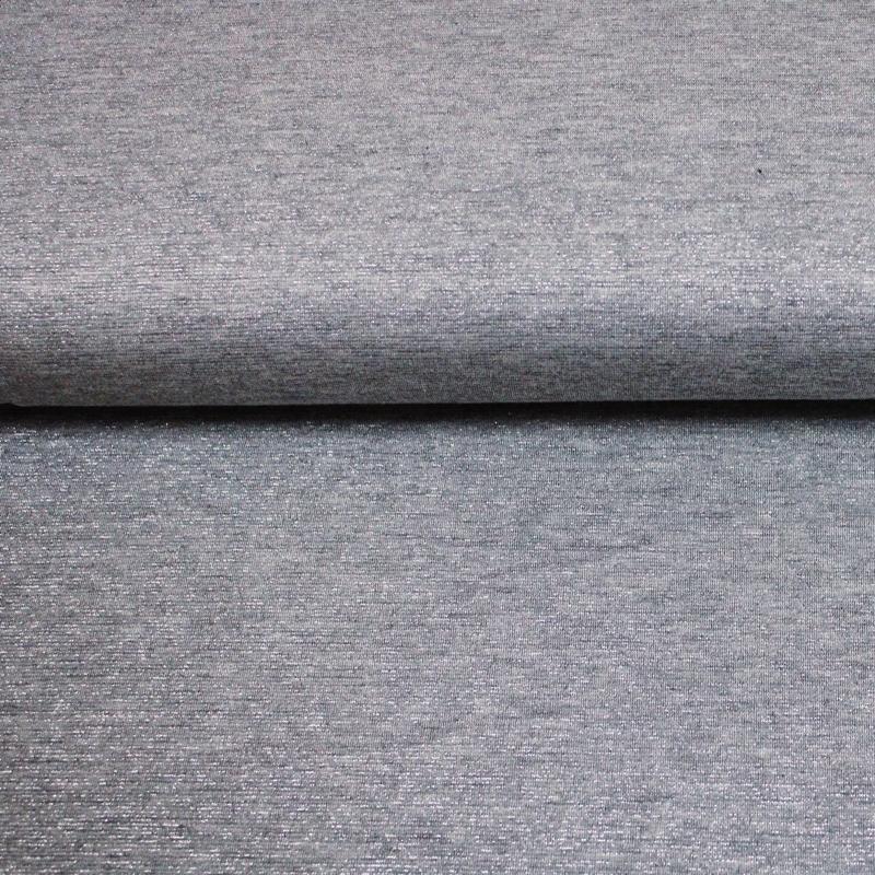 Strickstoff - Feinstrick - Lurex - Silber auf hellgrau