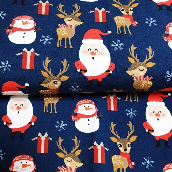 Jersey Christmas Reindeer by Schnuckidu - Weihnachtsmotive mit Rentieren auf Navy - Eigenproduktion