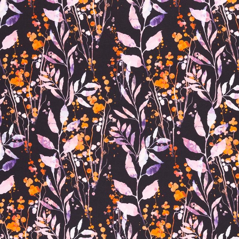 Softshell - Motiv Softshell - Swafing - Fiete - Blumen in Rosa/Orange auf Schwarz
