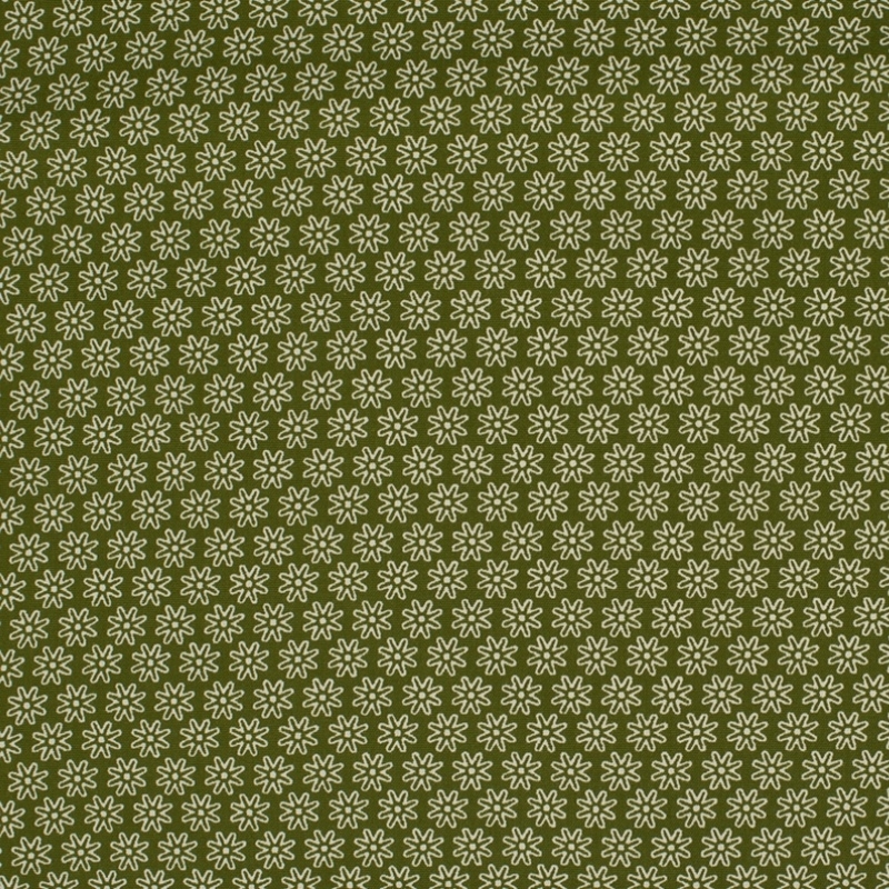 Baumwolle - Baumwollstoff - Kleine Margeriten in Weiß auf Khaki - Gut geeignet für Mundbedeckungen
