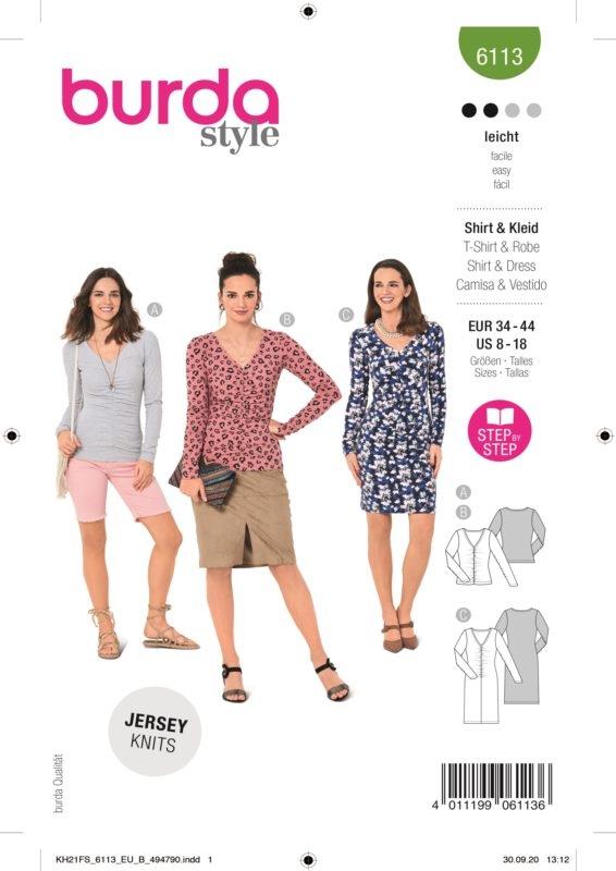 Burda Style 6113 Schnittmuster - Shirt & Kleid - Damen 34 - 44 - Level 2 Leicht