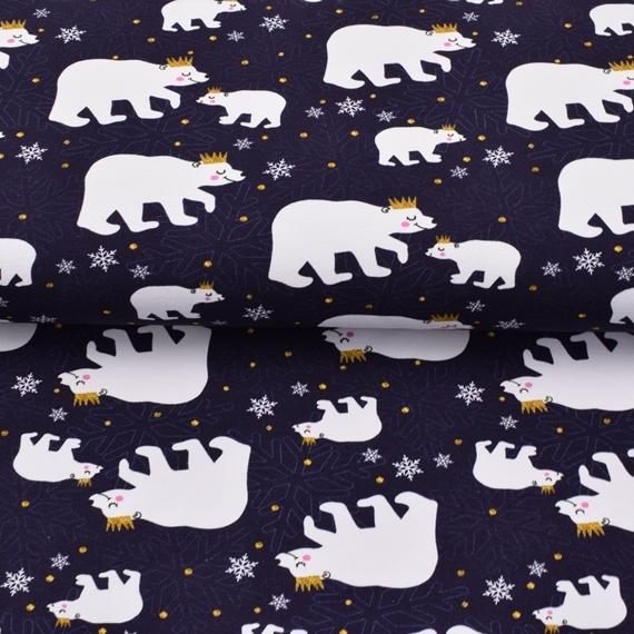 French Terry - Sommersweat Stoff - Kleiner Eisbär – Limited Edition – KATINOH - Eisbären auf Dark Navy