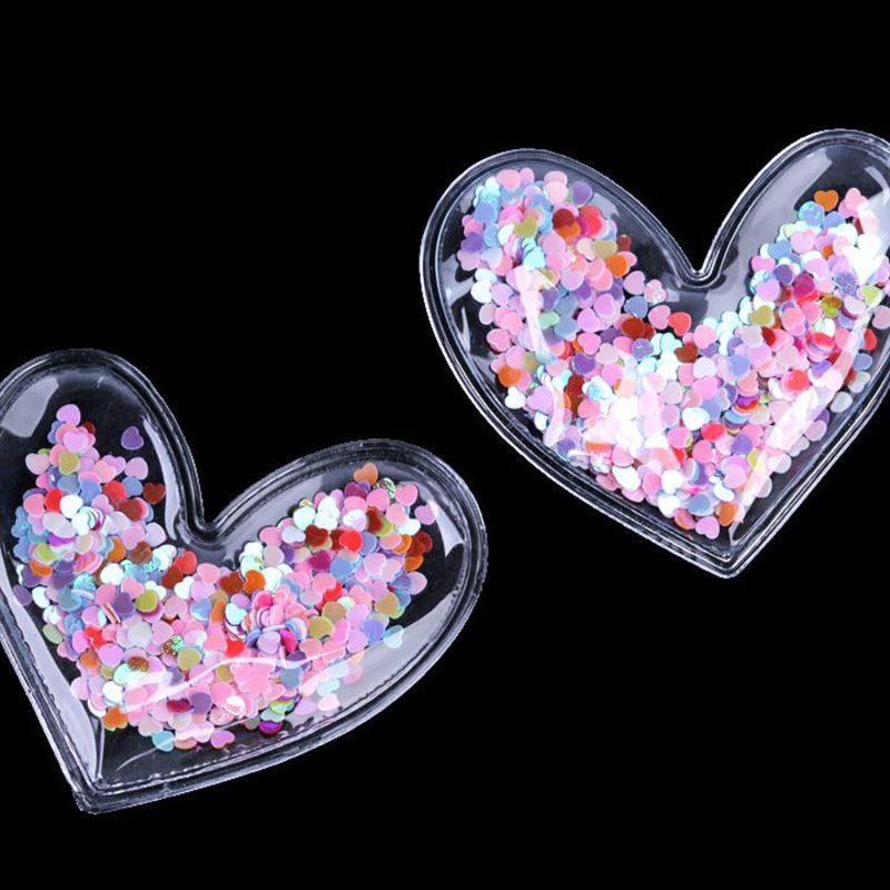 Applikation Herz gefüllt mit Pailletten - Herzen - Multicolor - ca. 60mm x 65mm x 9mm