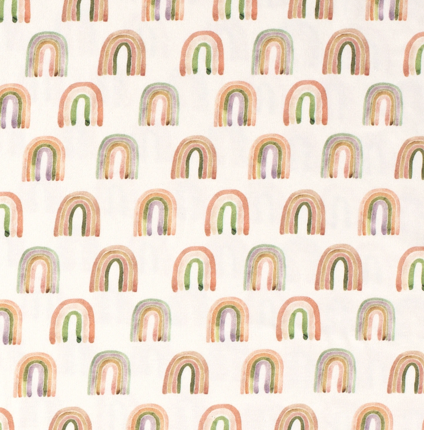 Baumwolljersey - Jersey Stoff - Motivjersey - Aquarell Regenbögen auf Offwhite Reststück 80cm x 150cm
