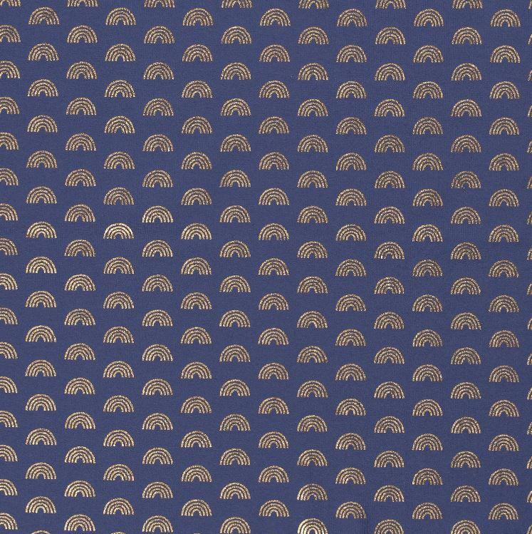 Baumwolljersey - Jersey Stoff - Regenbögen mit Foliendruck auf Indigoblau