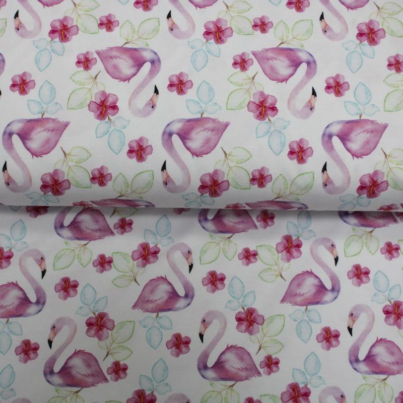Baumwolljersey  - Motivjersey - Flamingos und Blüten auf Weiß
