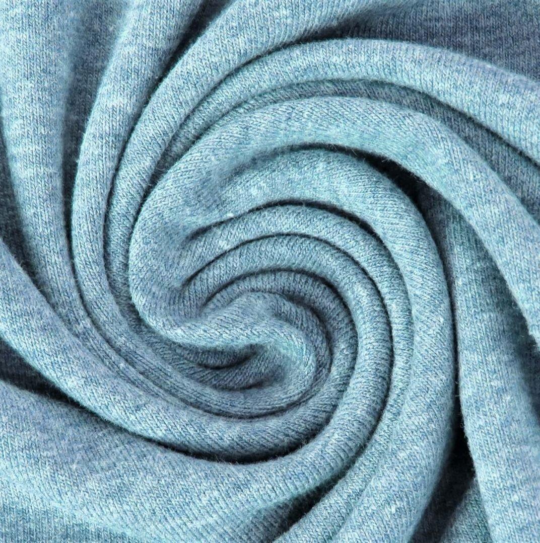 Baumwolljersey Melange - Jersey Stoff Uni meliert -  Aqua meliert