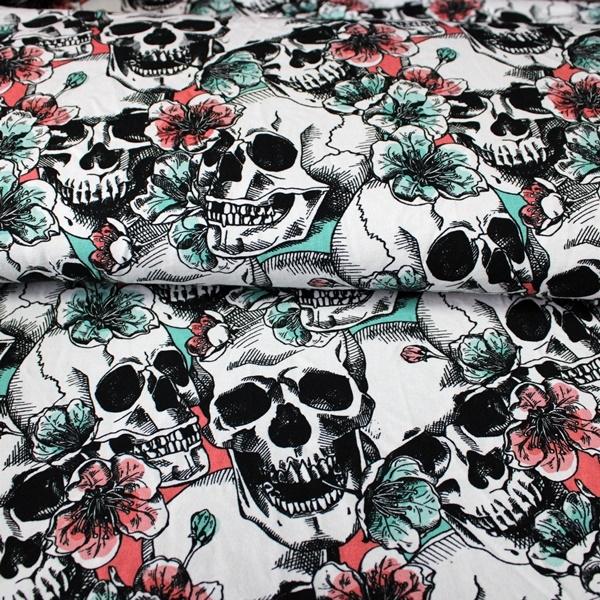 Jersey Stoff - Baumwolljersey - Miss Skull Pastell - Schnuckidu Eigenproduktion