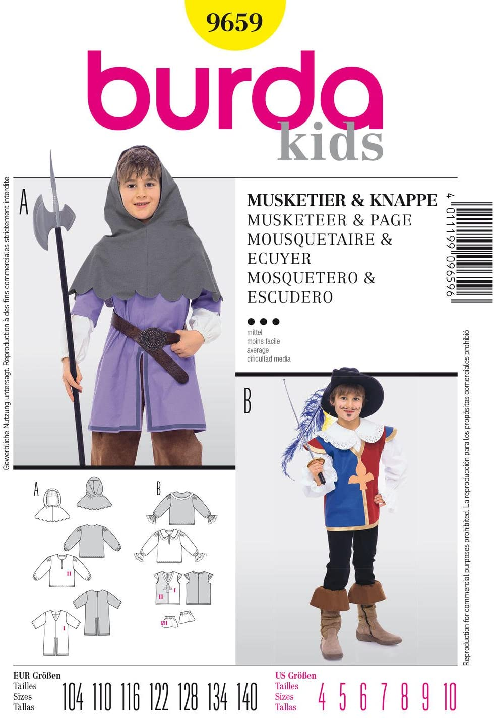 Burda 9659 Schnittmuster Kostüm Fasching Karneval Musketier & Knappe (kids, Gr. 104 - 140) Level 3 mittel