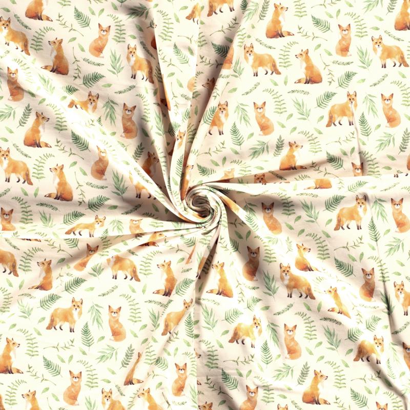 Sweat leicht angeraut - Sweat Stoff - Motivsweat - Füchse und Gräser auf Vanille
