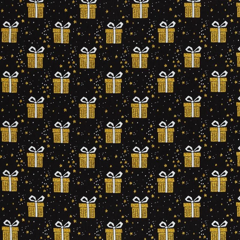 Webware - Baumwoll Stoff - Swafing - Joel - Geschenke in Gold auf Schwarz