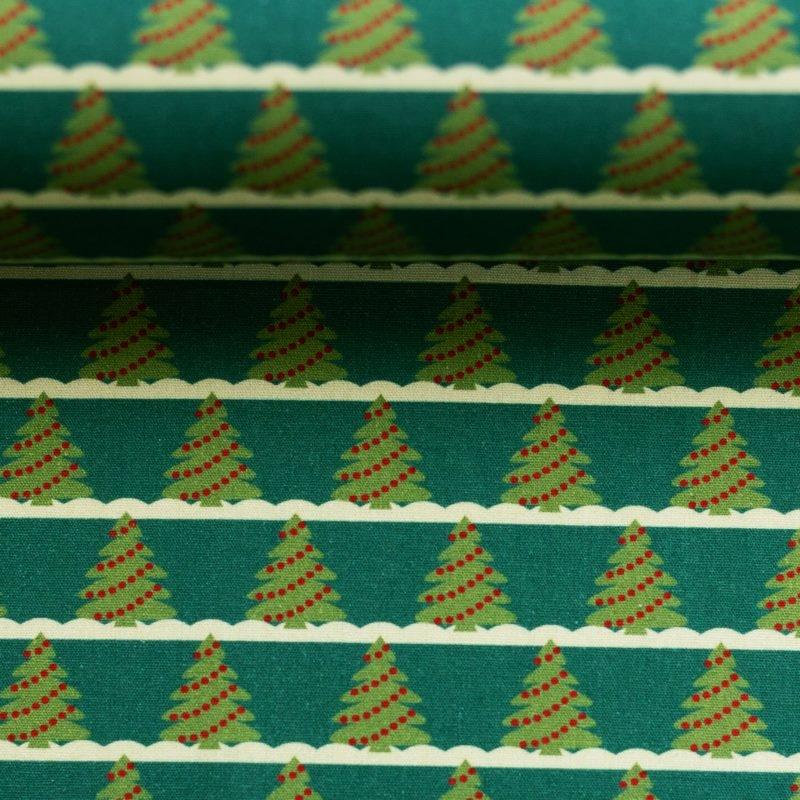 Baumwolle - Baumwoll Stoff - Merry Christmas - Tannenbäume auf Dunkelgrün