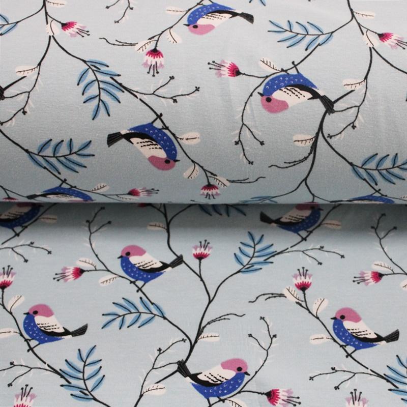 Baumwolljersey - Jersey Stoff - Motivjersey - Vögel auf Babyblau
