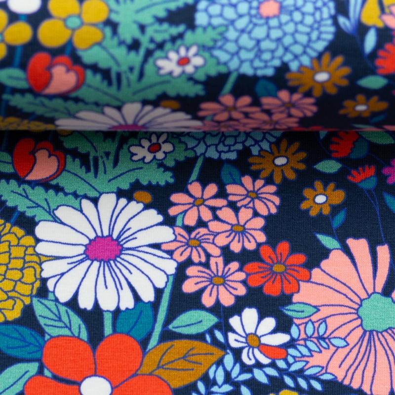 Baumwolljersey - Jersey Stoff - Motivjersey - Swafing - Tropical Forest - Bunte Blumen auf Navy