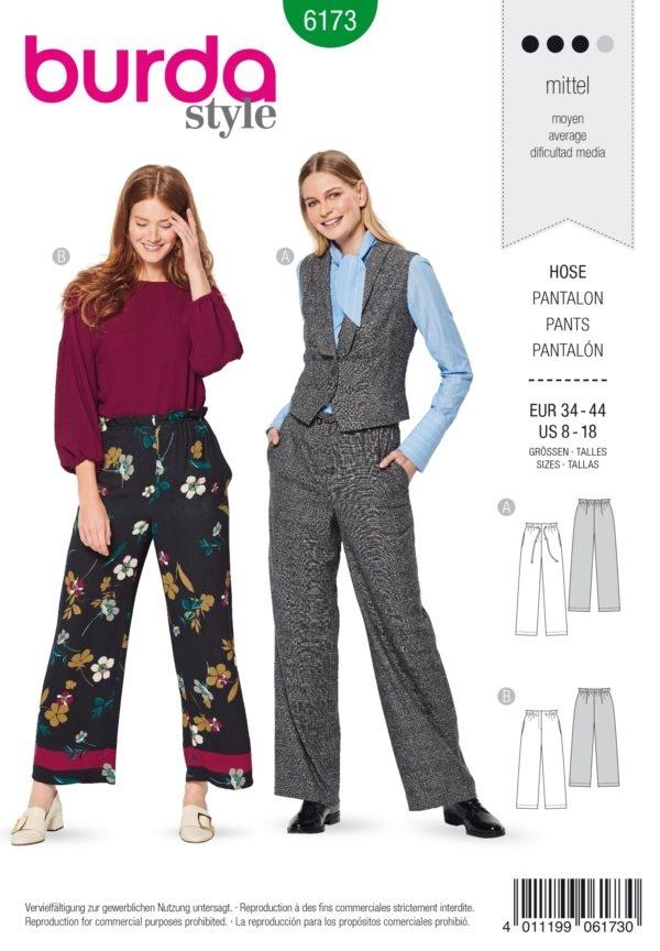 Burda Style 6173 Schnittmuster -Hose mit Band- oder Gummidurchzug  (Damen Gr. 34-44) Level 3 Mittel