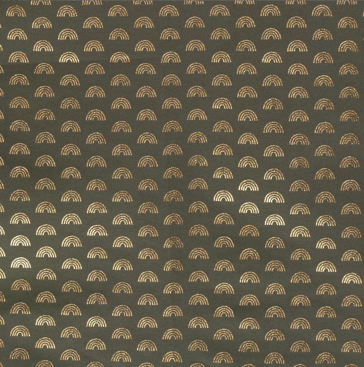 Baumwolljersey - Jersey Stoff - Regenbögen mit Foliendruck auf Olive