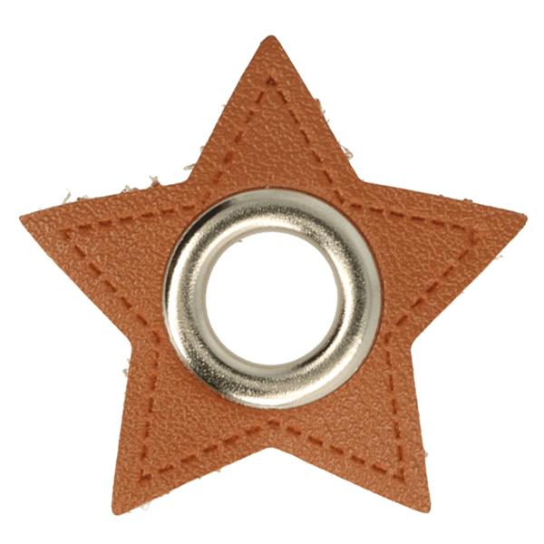 Kunstleder Ösen - Ösen Patches - Braun - Stern - 11mm - Silber