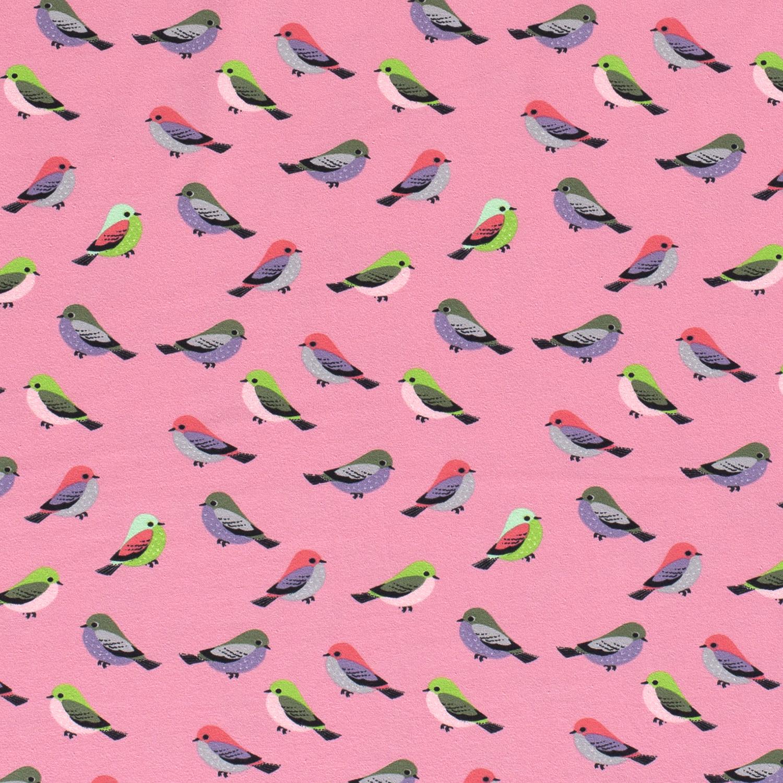 Baumwolljersey - Jersey Stoff - Motivjersey - Kleine Vögel auf Rosa
