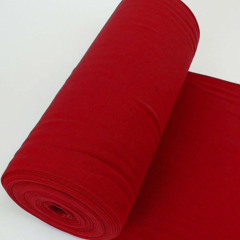 Bündchen Stoff Feinripp Uni - Dunkles Rot