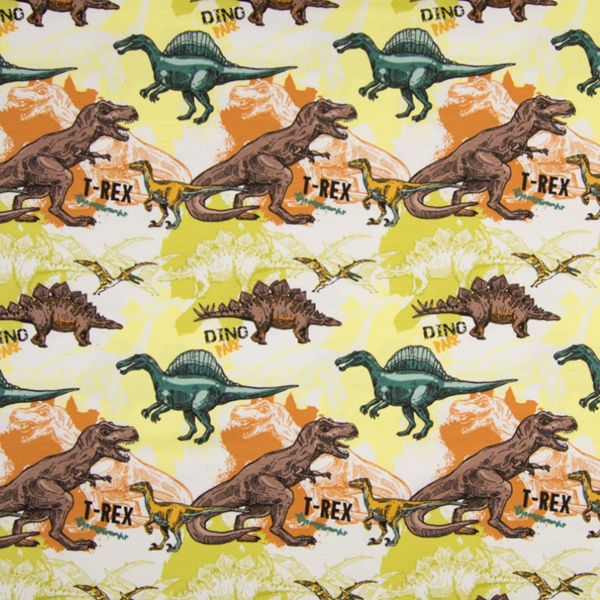Baumwolljersey - Jersey Stoff - Motivjersey - Dinos auf Gelb