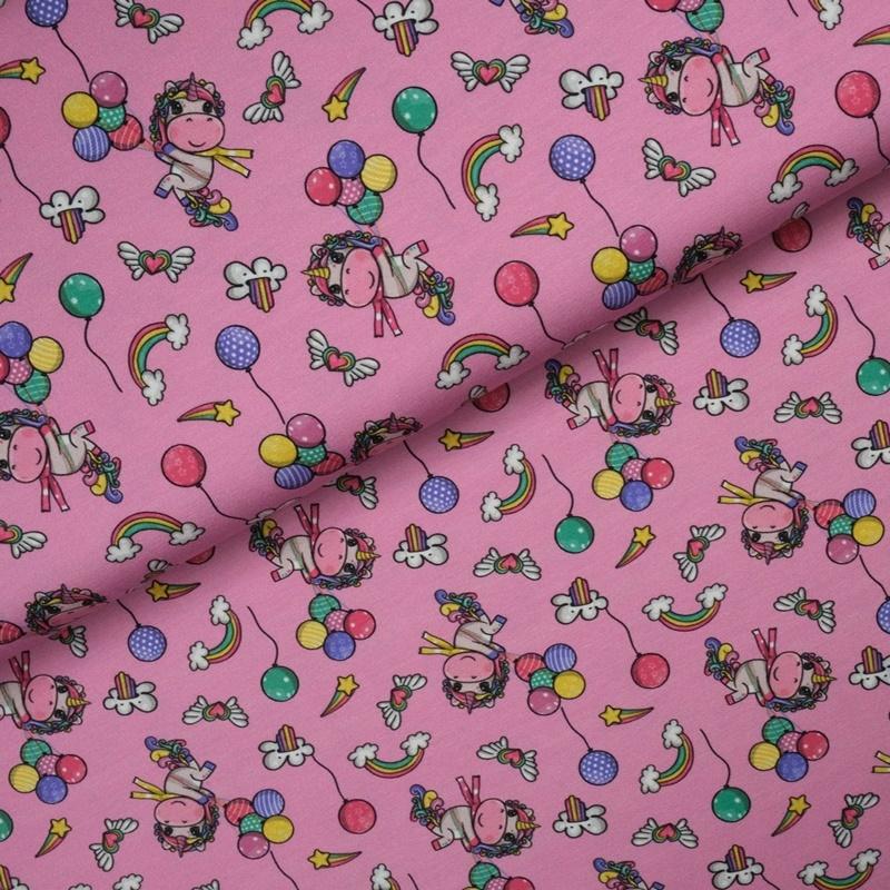 Baumwolljersey - Jersey Stoff - Motivjersey - Einhornparty auf Pink