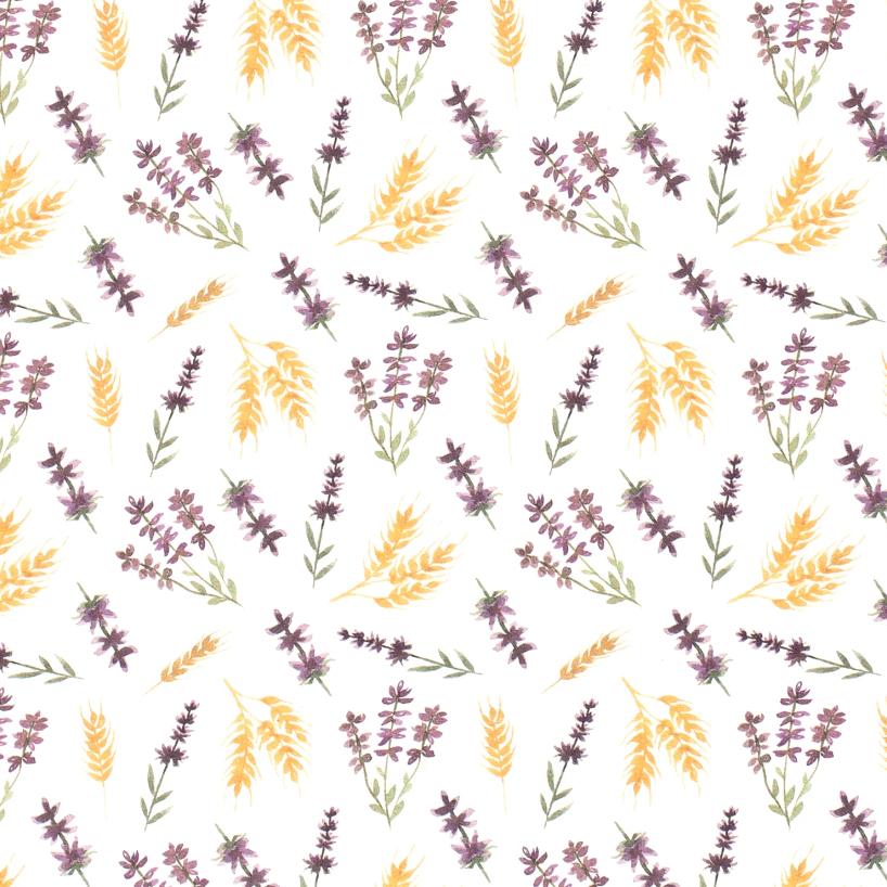 Baumwolljersey - Jersey Stoff - Motivjersey -  Blumen und Getreideähren auf Offwhite