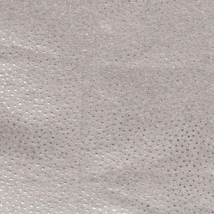 Baumwolljersey - Jersey Stoff - Punkte mit Foliendruck auf Grau