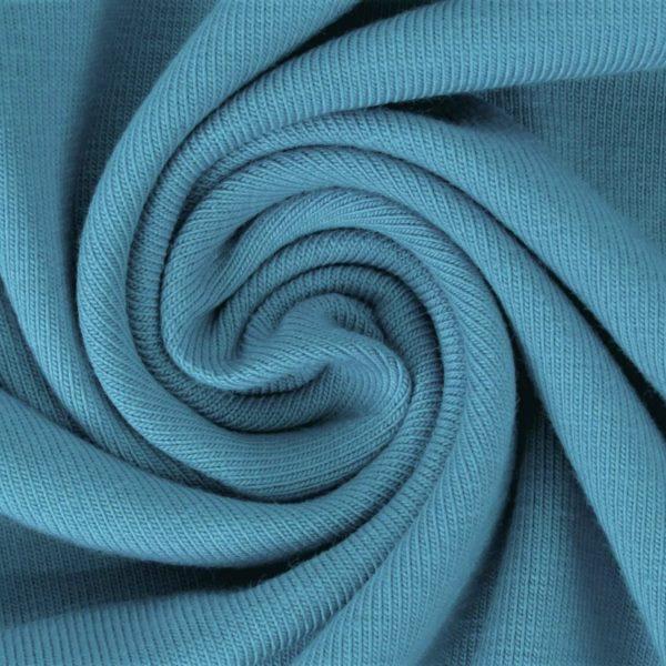 Ganzjahressweat Stoff - Sweat - angeraut - Grün-Blau
