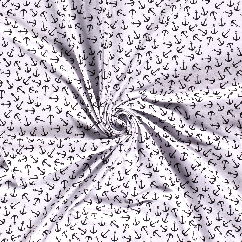 Baumwolljersey - Jersey Stoff - Motivjersey - Anker auf Weiß