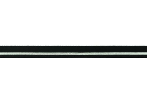 Elastisches Einfassband - Lurex Streifen - Schwarz