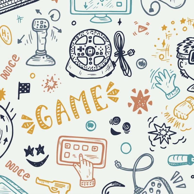 Baumwolljersey - Jersey Stoff - Motivjersey - Gaming Party auf Offwhite
