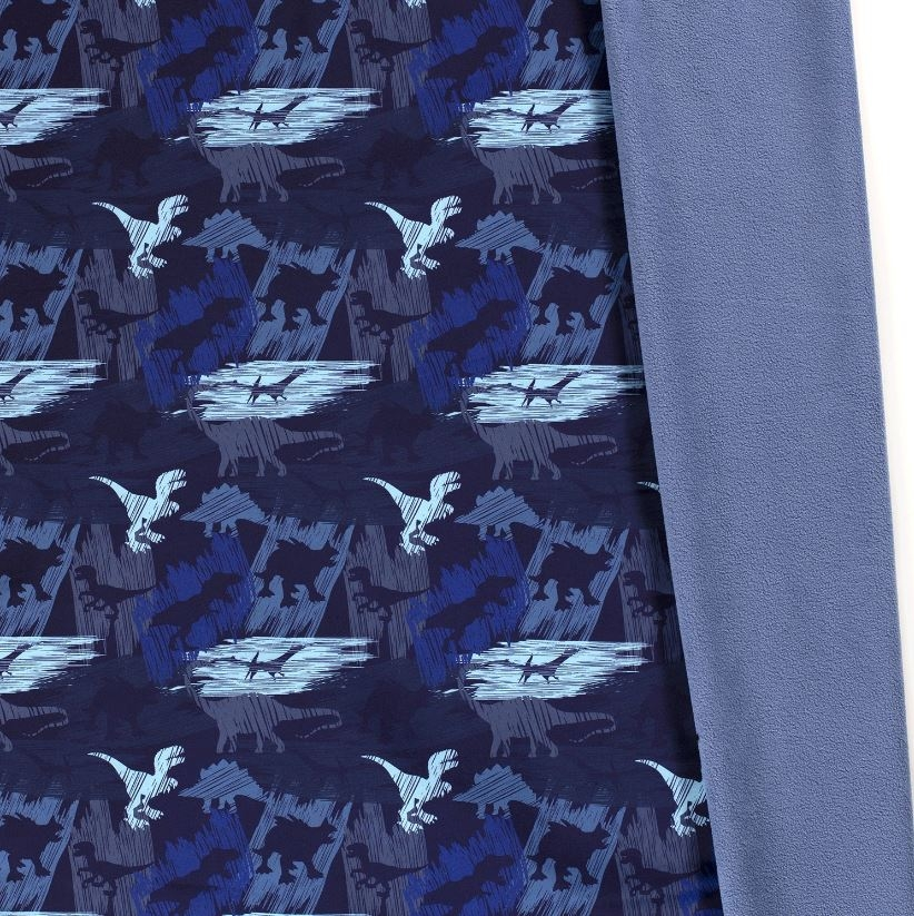 Softshell mit Plüschabseite - Motiv - Dinosaurier auf Navy