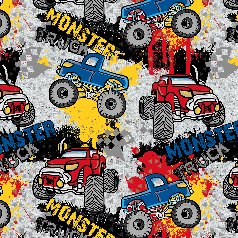 Sweat leicht angeraut - Sweat Stoff - Motivsweat - Monster Trucks auf Hellgrau