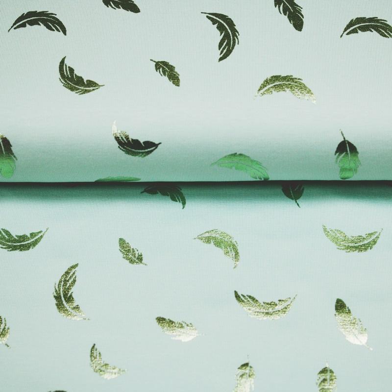 Baumwolljersey - Jersey Stoff - Federn auf Mint
