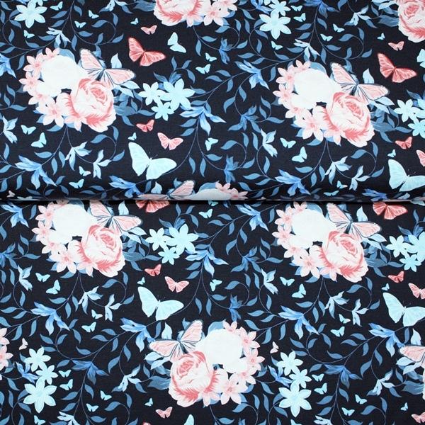 Jersey Stoff - Baumwolljersey - Bella Bleu -  Blumen und Schmetterlinge auf Navy - Schnuckidu Eigenproduktion