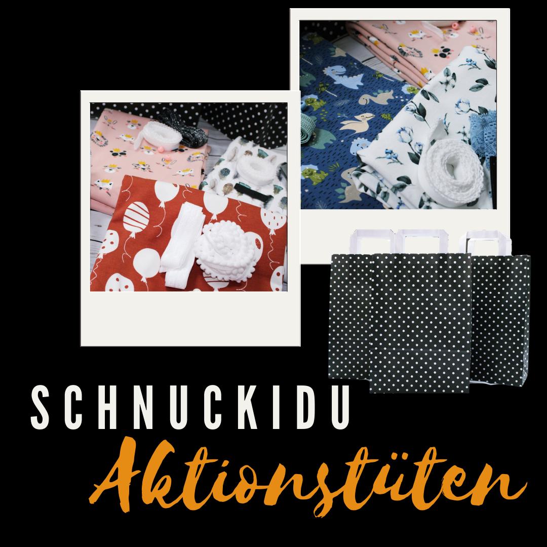 Aktionstüte JUNGEN -Schnuckidu Überraschungstüte - 1 Meter Motivjersey & Tüddel