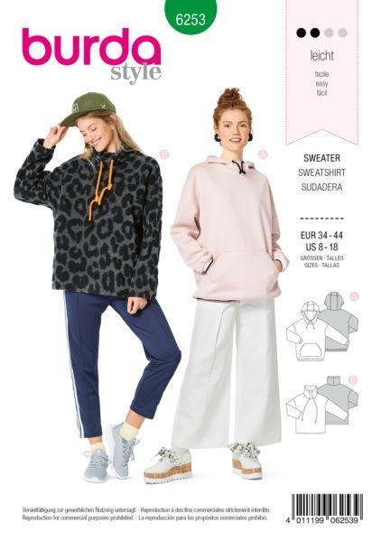 Burda Style 6253 Schnittmuster Sweatshirt (Damen Gr. 34-44) Level 2 leicht