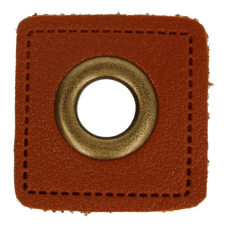 Kunstleder Ösen - Ösen Patches - Braun Viereck - 8mm - Bronze - 1 Stück