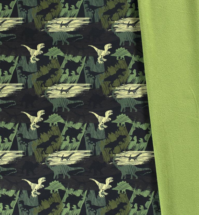 Softshell mit Plüschabseite - Motiv - Dinosaurier auf Grün