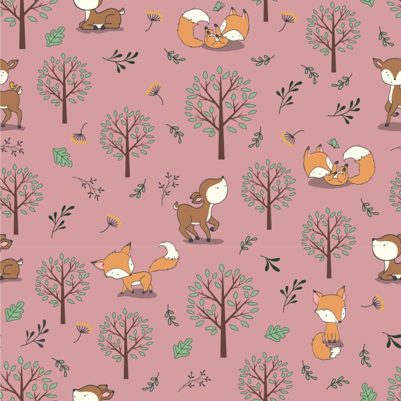 Baumwolljersey - Jersey Stoff - Füchse und Rehe im Wald auf Altrosa