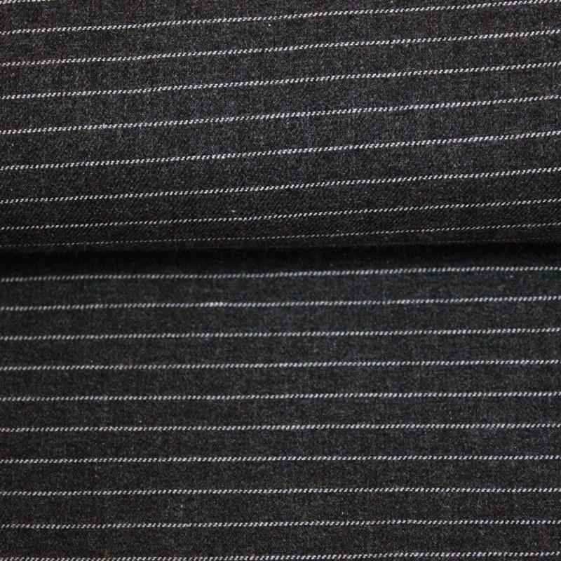 Katia Fabrics - Organic Baumwoll Stoff - Viyella - Streifen in Weiß auf Anthrazit