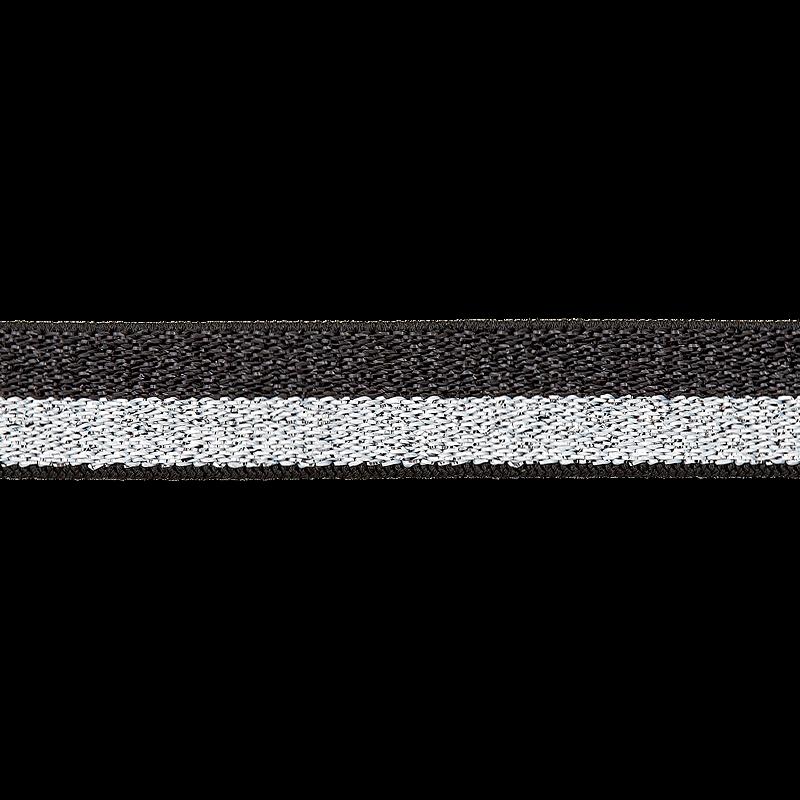 Gummi - Gummiband 15mm - Lurex - Silber/Schwarz