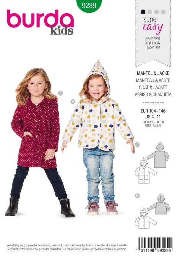 Burda Style 9289 Schnittmuster -Mantel –  Jacke – Kapuze (Kinder Gr. 104-146) Level 1 Super easy